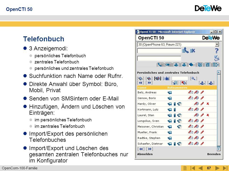 Telefonbuch 3 Anzeigemodi: Suchfunktion nach Name oder Rufnr.