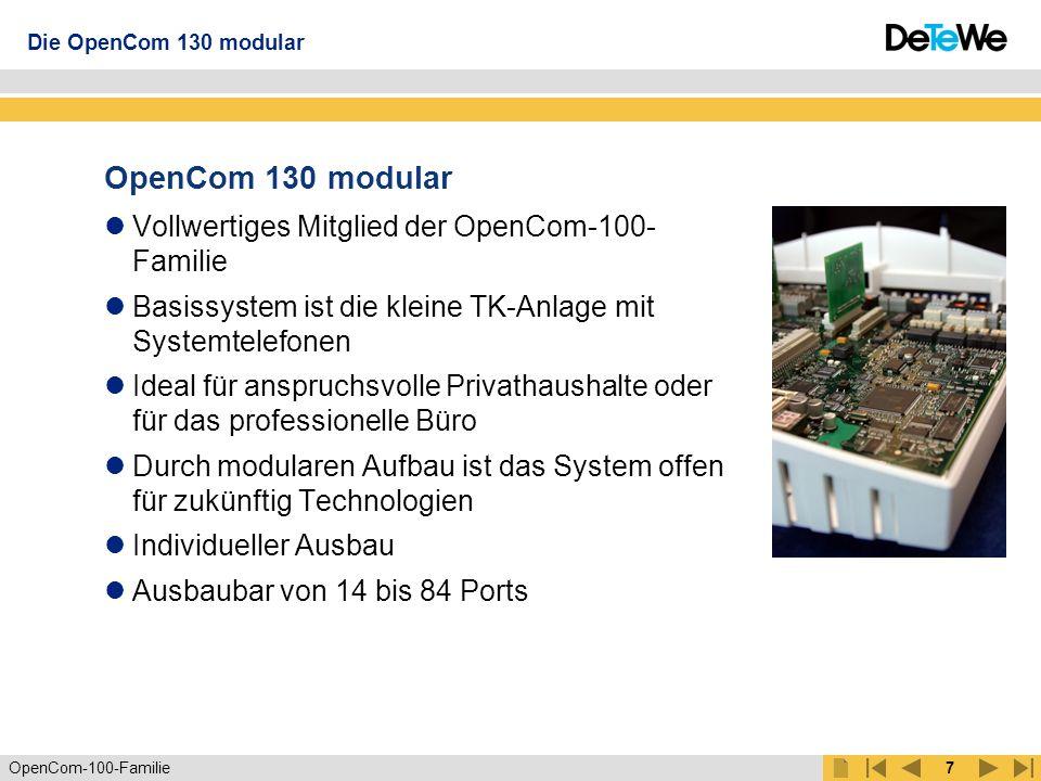 OpenCom 130 modular Vollwertiges Mitglied der OpenCom-100-Familie