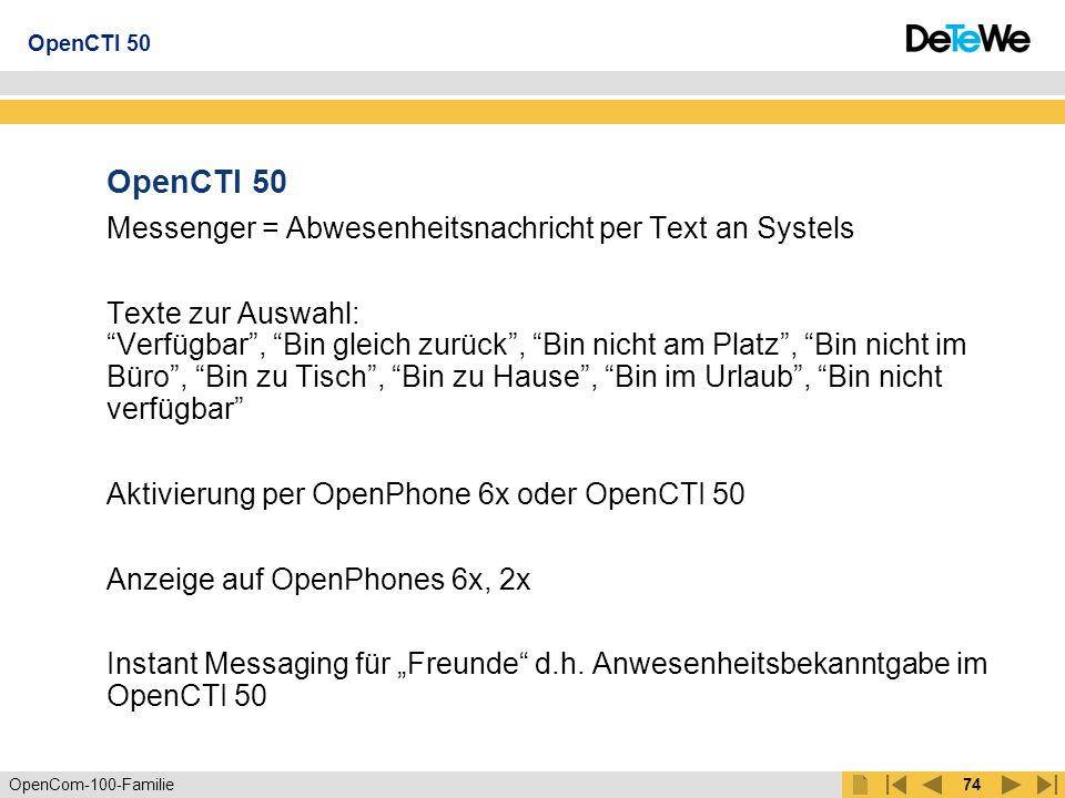 OpenCTI 50 Messenger = Abwesenheitsnachricht per Text an Systels