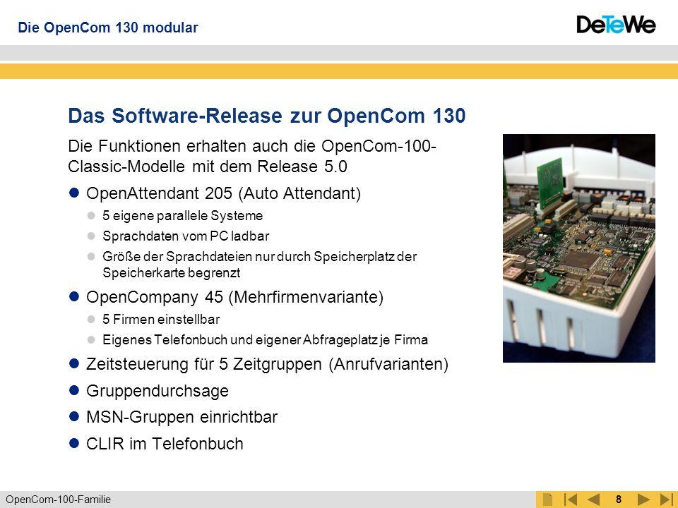 Das Software-Release zur OpenCom 130