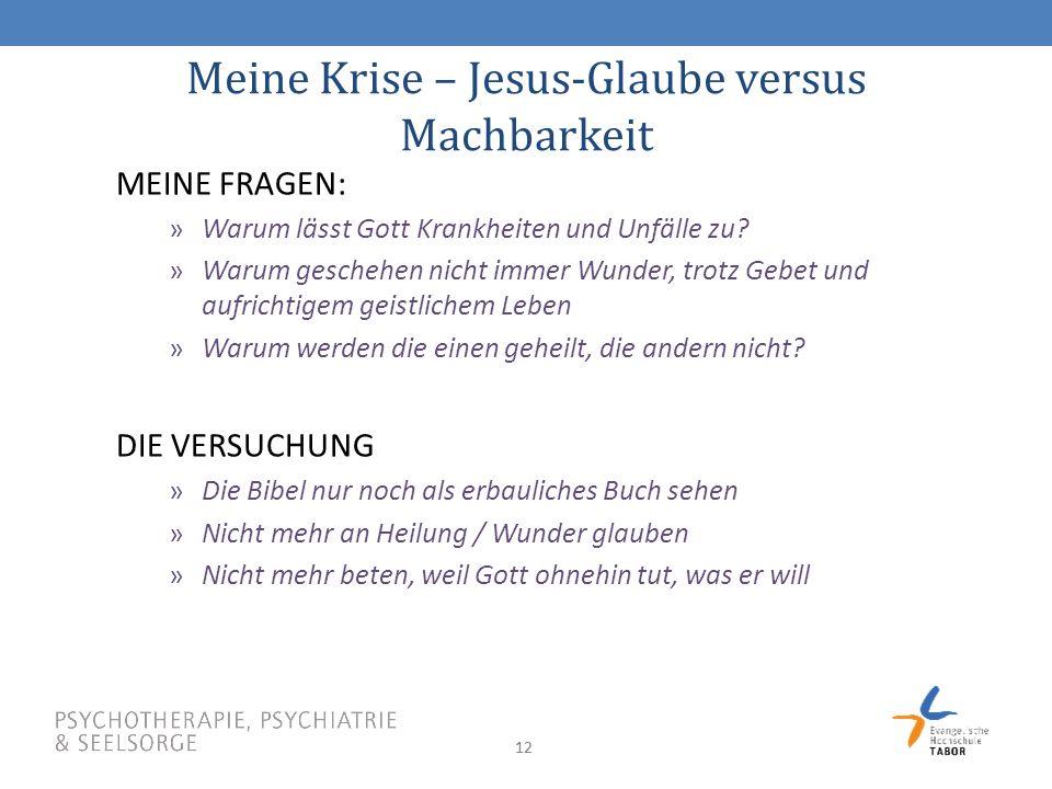 Meine Krise – Jesus-Glaube versus Machbarkeit