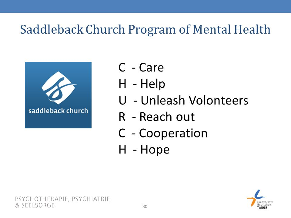 Saddleback Church Program of Mental Health