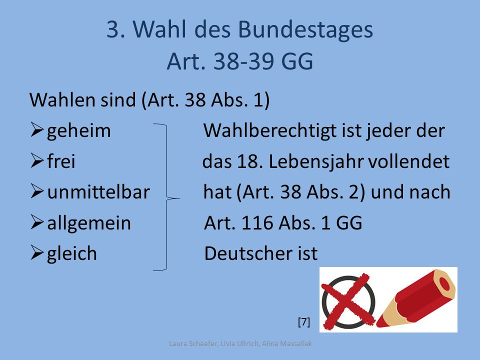 3. Wahl des Bundestages Art GG