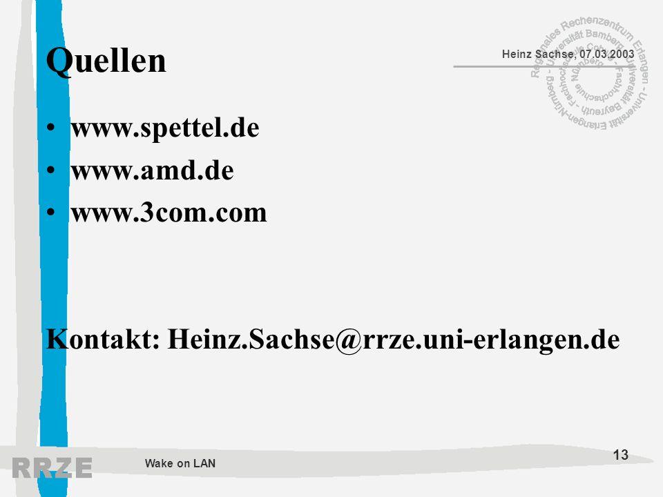 Quellen www.spettel.de www.amd.de www.3com.com