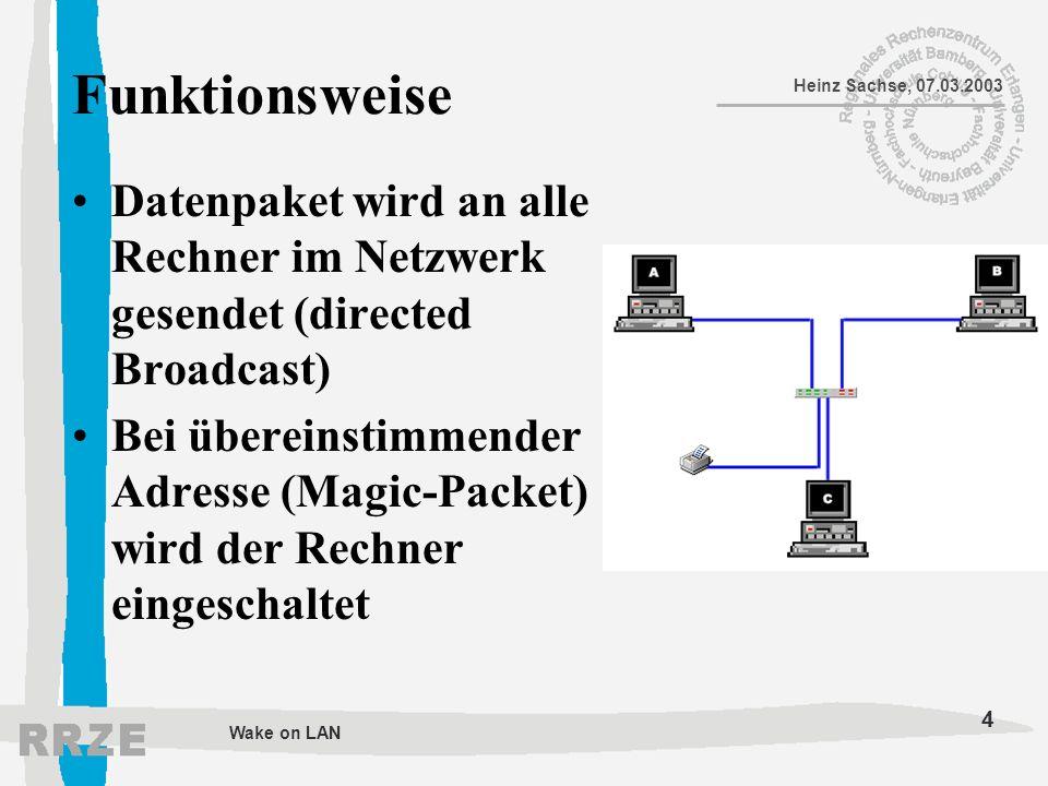Funktionsweise Datenpaket wird an alle Rechner im Netzwerk gesendet (directed Broadcast)