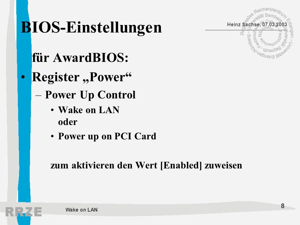 "BIOS-Einstellungen für AwardBIOS: Register ""Power Power Up Control"