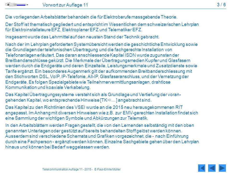 3 / 6 Vorwort zur Auflage 11. Die vorliegenden Arbeitsblätter behandeln die für Elektroberufe massgebende Theorie.