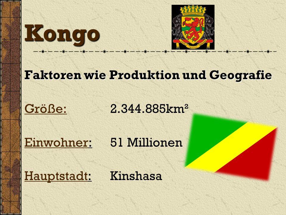 Kongo Faktoren wie Produktion und Geografie Größe: 2.344.885km²