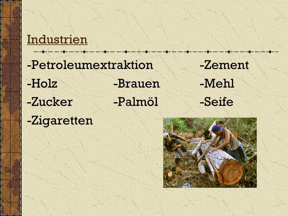 Industrien -Petroleumextraktion -Zement. -Holz -Brauen -Mehl.