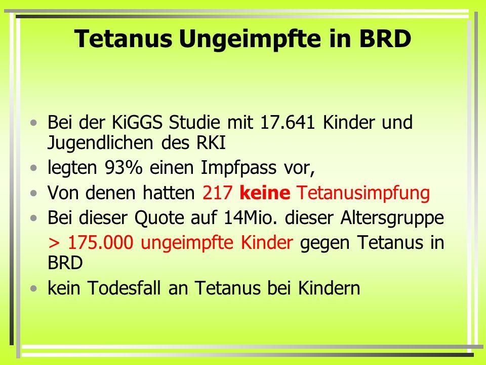 Tetanus Ungeimpfte in BRD