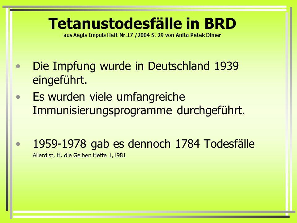 Tetanustodesfälle in BRD aus Aegis Impuls Heft Nr. 17 /2004 S