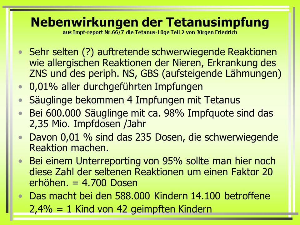 Nebenwirkungen der Tetanusimpfung aus Impf-report Nr