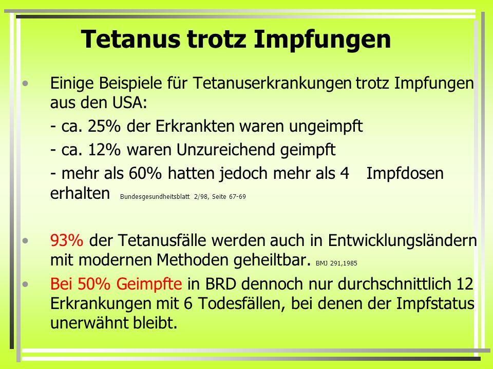 Tetanus trotz Impfungen