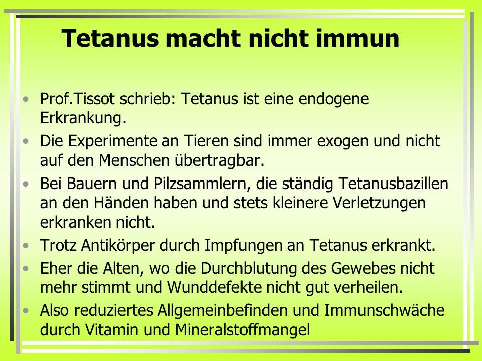 Tetanus macht nicht immun