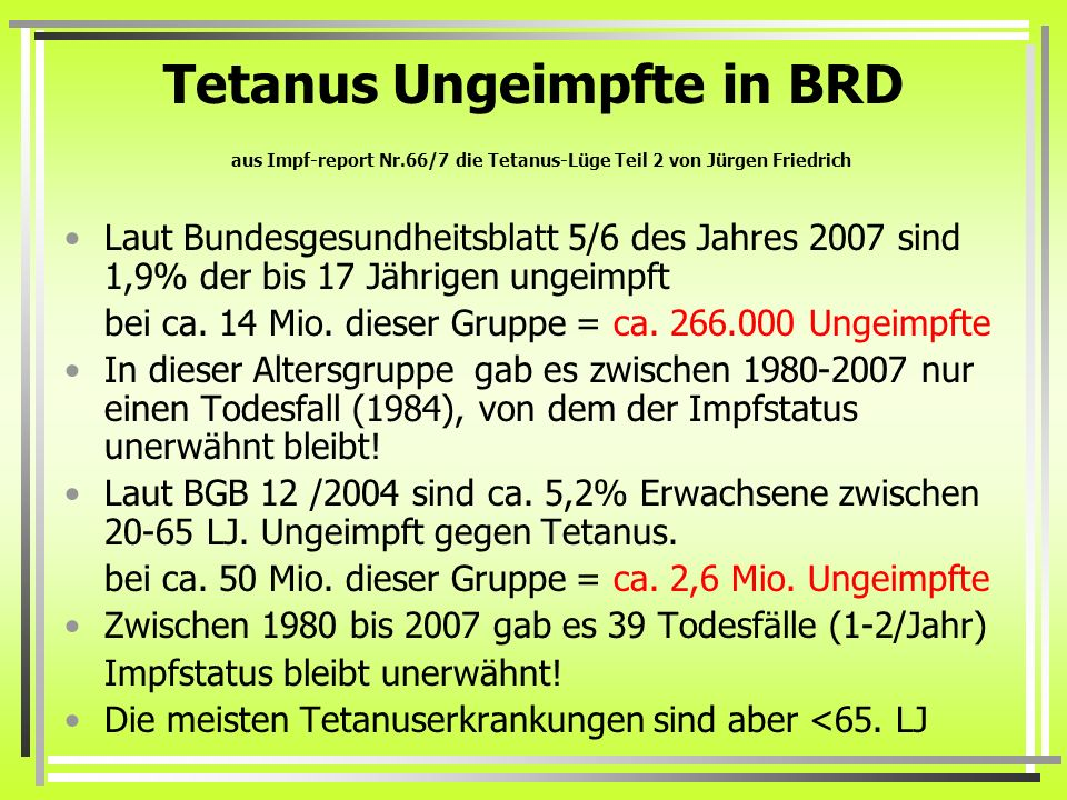 Tetanus Ungeimpfte in BRD aus Impf-report Nr