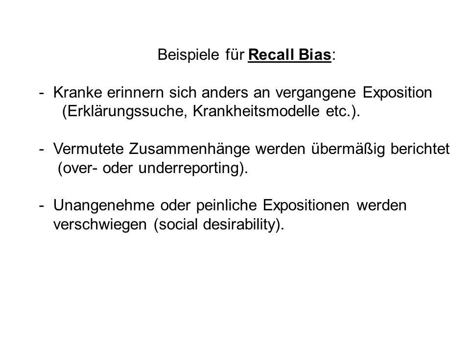 Beispiele für Recall Bias:
