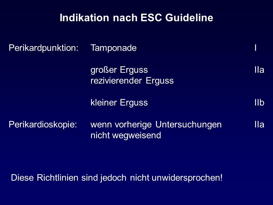 Indikation nach ESC Guideline