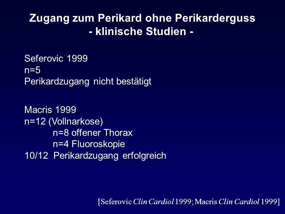 Zugang zum Perikard ohne Perikarderguss - klinische Studien -