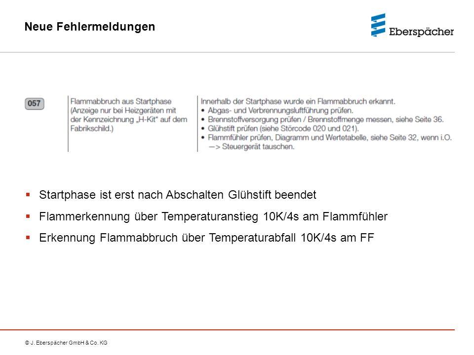 Neue Fehlermeldungen Startphase ist erst nach Abschalten Glühstift beendet. Flammerkennung über Temperaturanstieg 10K/4s am Flammfühler.