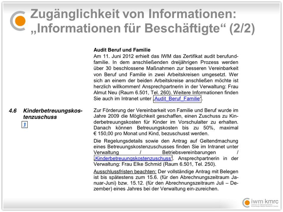 """Zugänglichkeit von Informationen: """"Informationen für Beschäftigte (2/2)"""