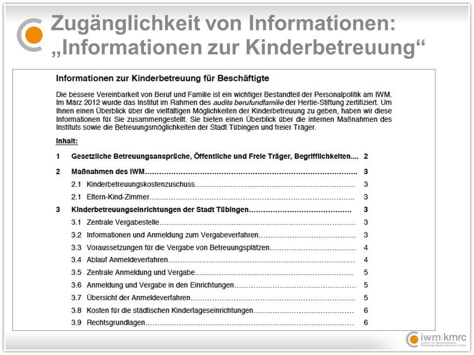"""Zugänglichkeit von Informationen: """"Informationen zur Kinderbetreuung"""