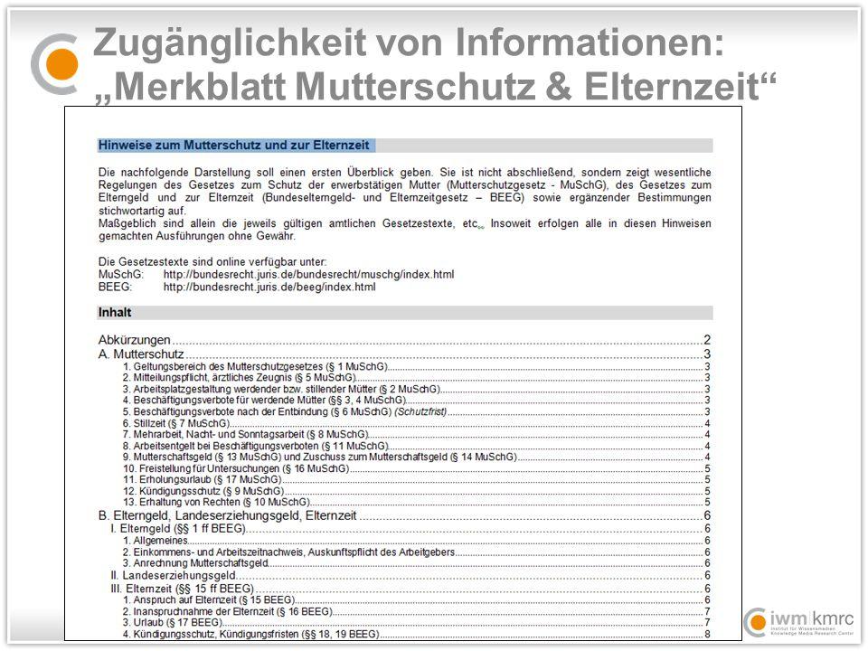 """Zugänglichkeit von Informationen: """"Merkblatt Mutterschutz & Elternzeit"""