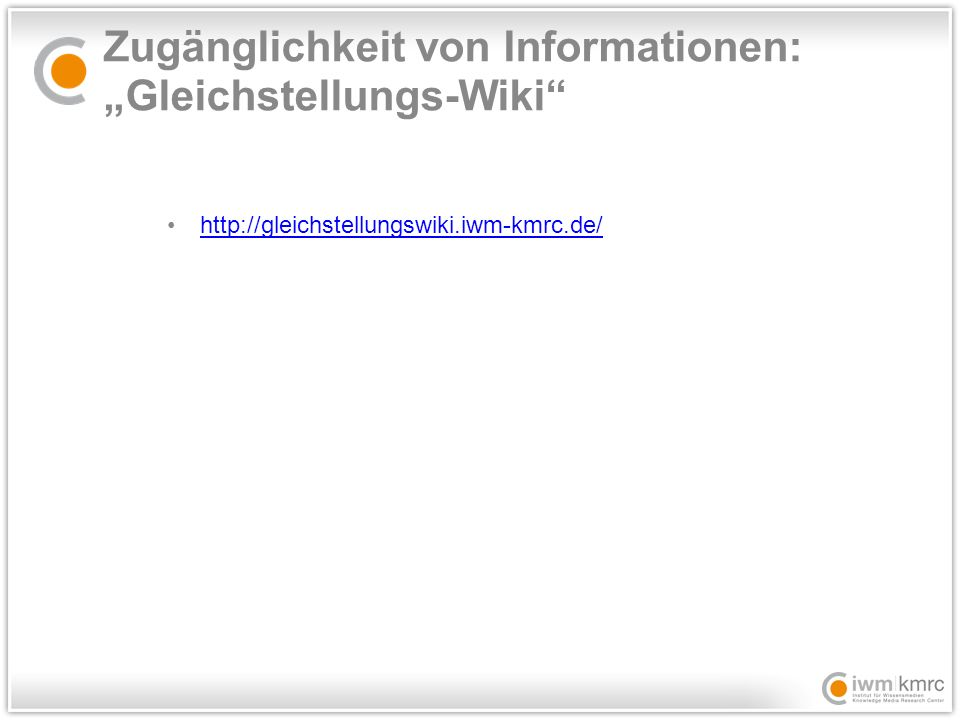 """Zugänglichkeit von Informationen: """"Gleichstellungs-Wiki"""