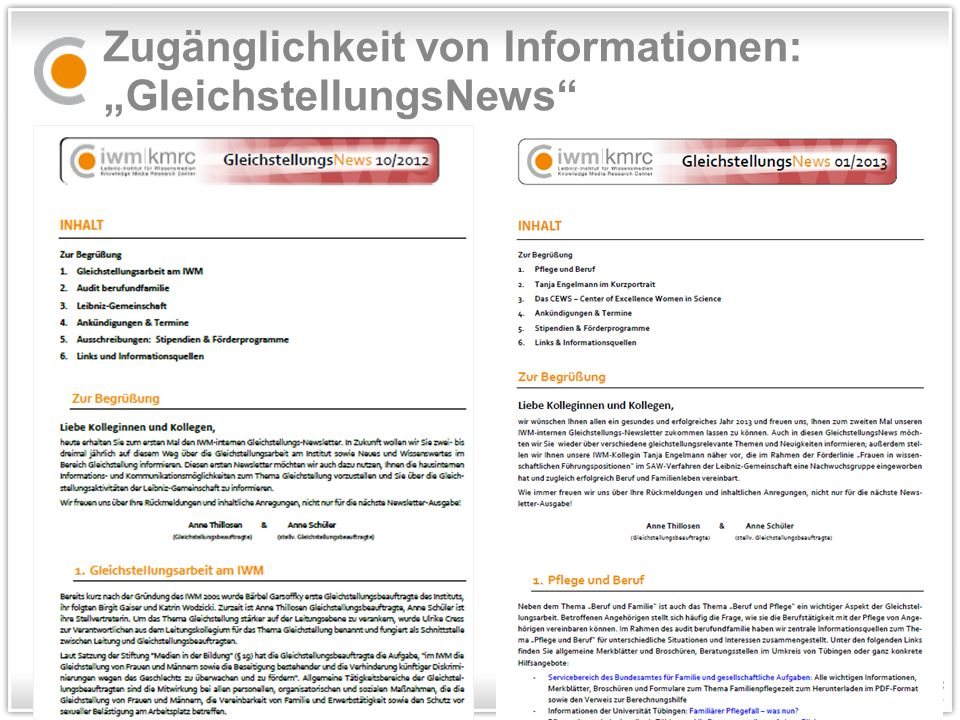 """Zugänglichkeit von Informationen: """"GleichstellungsNews"""