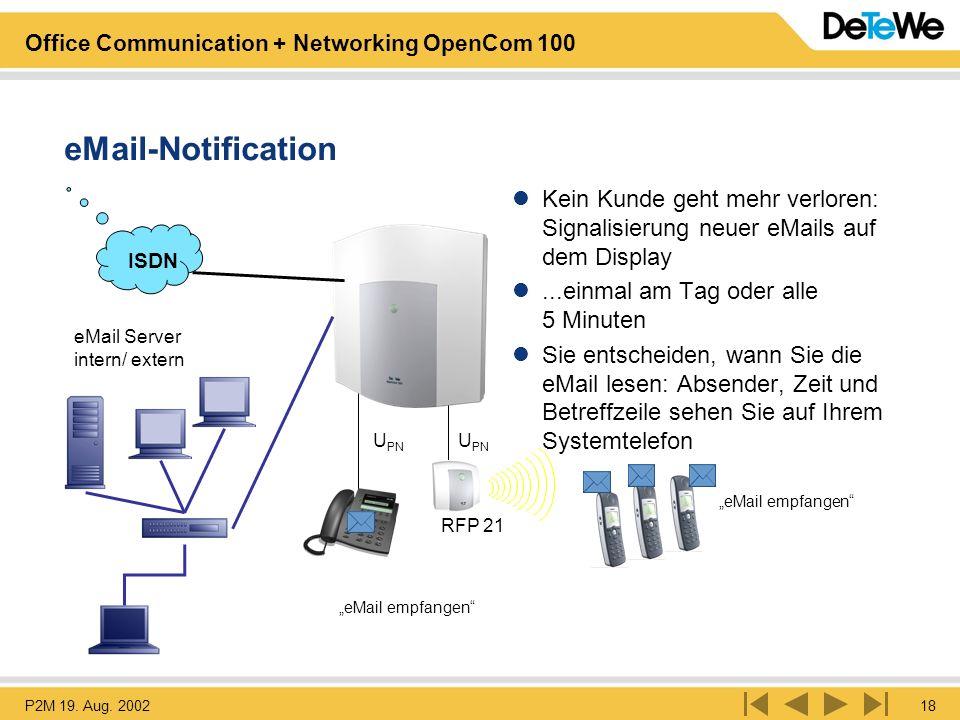 eMail-Notification Kein Kunde geht mehr verloren: Signalisierung neuer eMails auf dem Display. ...einmal am Tag oder alle 5 Minuten.