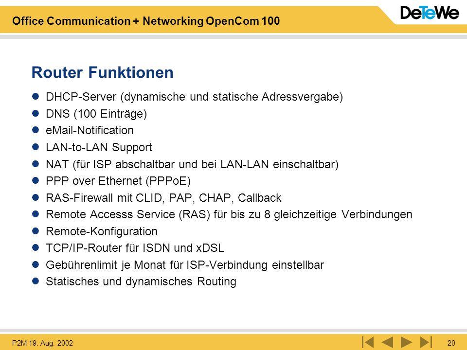 Router Funktionen DHCP-Server (dynamische und statische Adressvergabe)