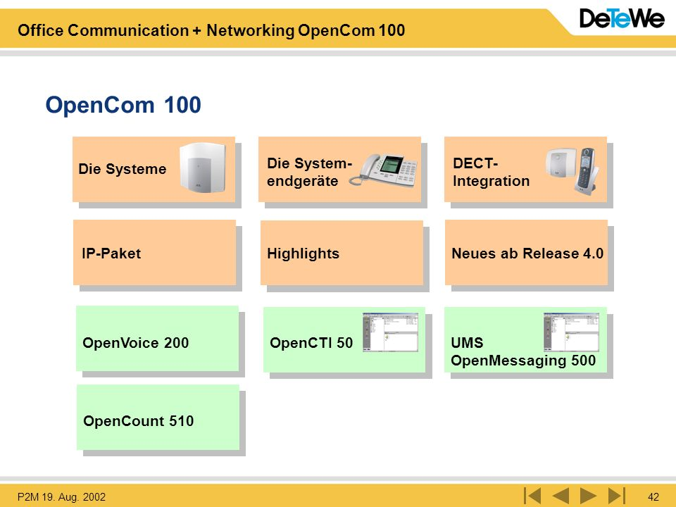 OpenCom 100 Die System- endgeräte DECT- Integration Die Systeme
