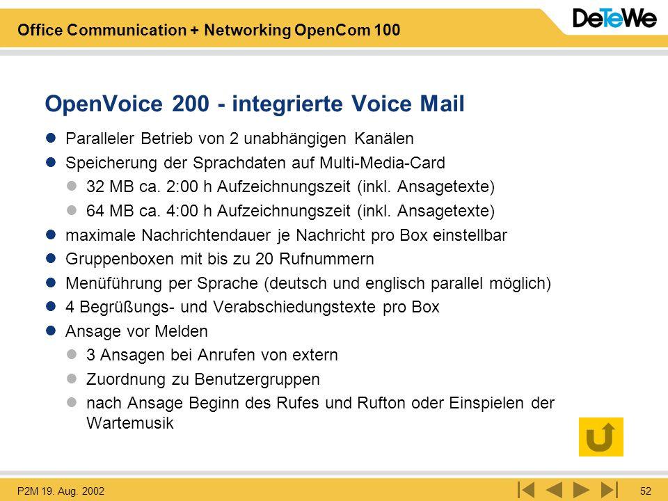 OpenVoice 200 - integrierte Voice Mail