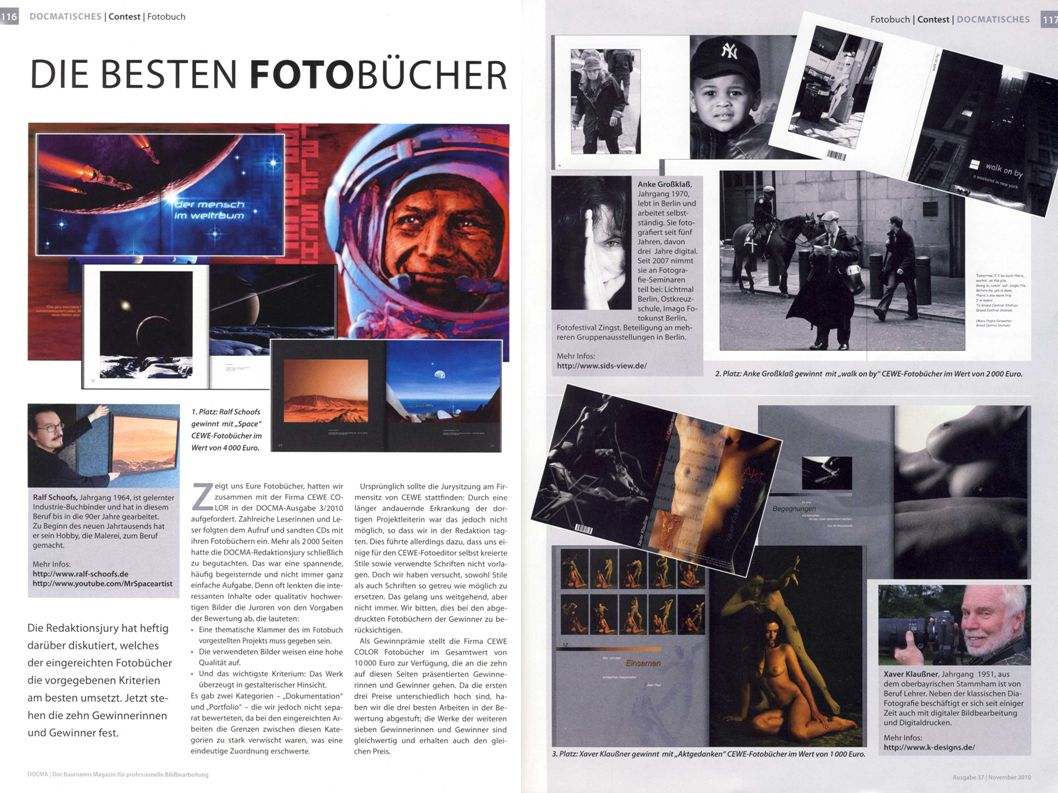 Erster Platz beim Fotobuchwettbewerb der Zeitschrift DOCMA 2010