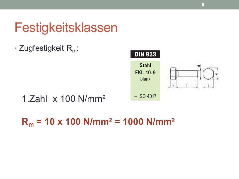 Festigkeitsklassen 1.Zahl x 100 N/mm² Rm = 10 x 100 N/mm² = 1000 N/mm²