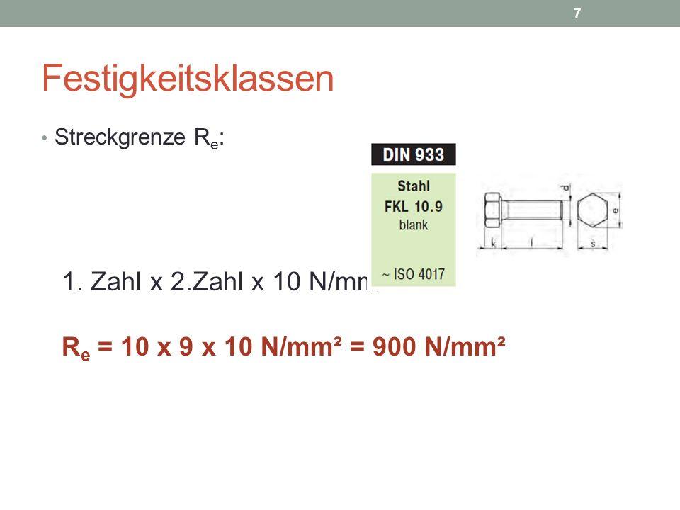 Festigkeitsklassen 1. Zahl x 2.Zahl x 10 N/mm²
