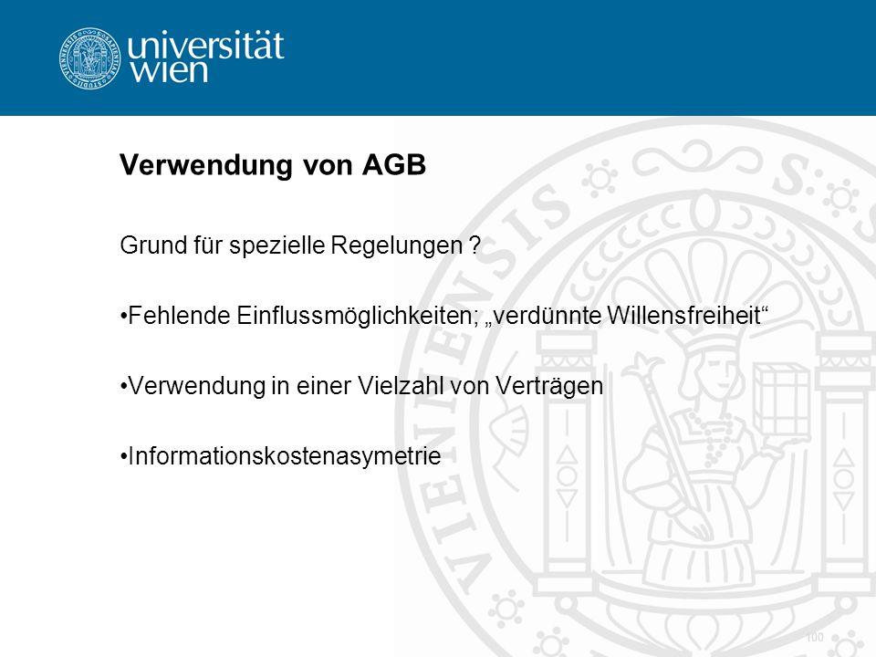 Verwendung von AGB Grund für spezielle Regelungen