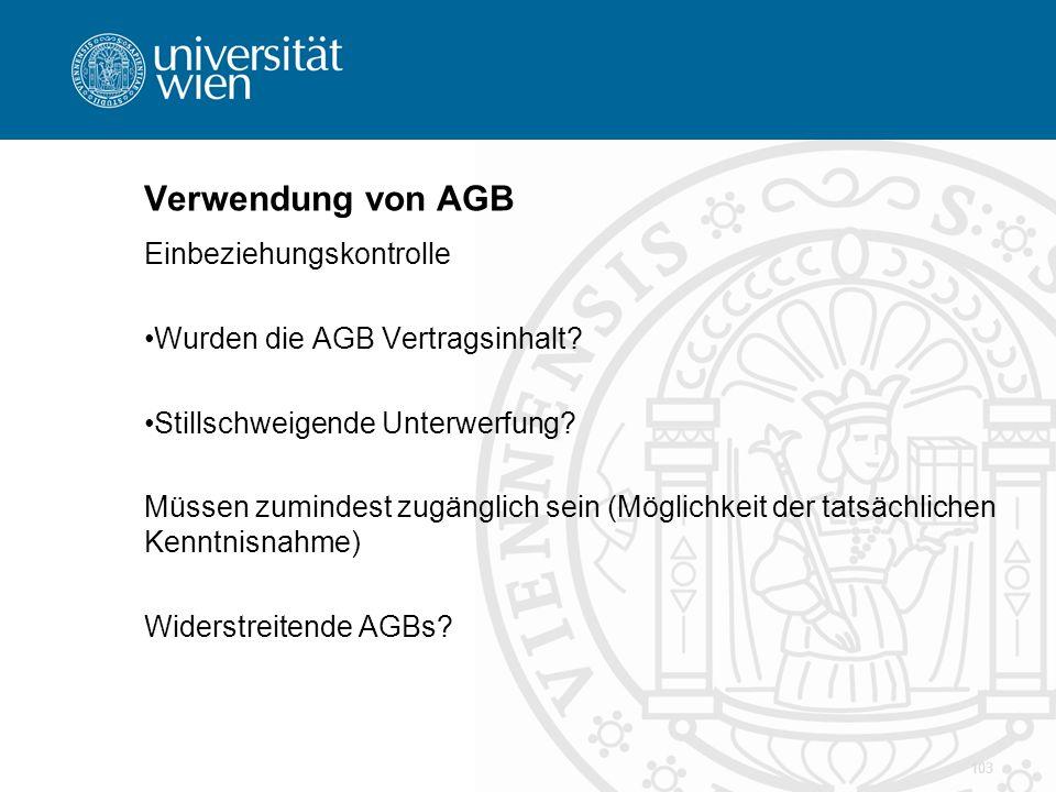 Verwendung von AGB Einbeziehungskontrolle