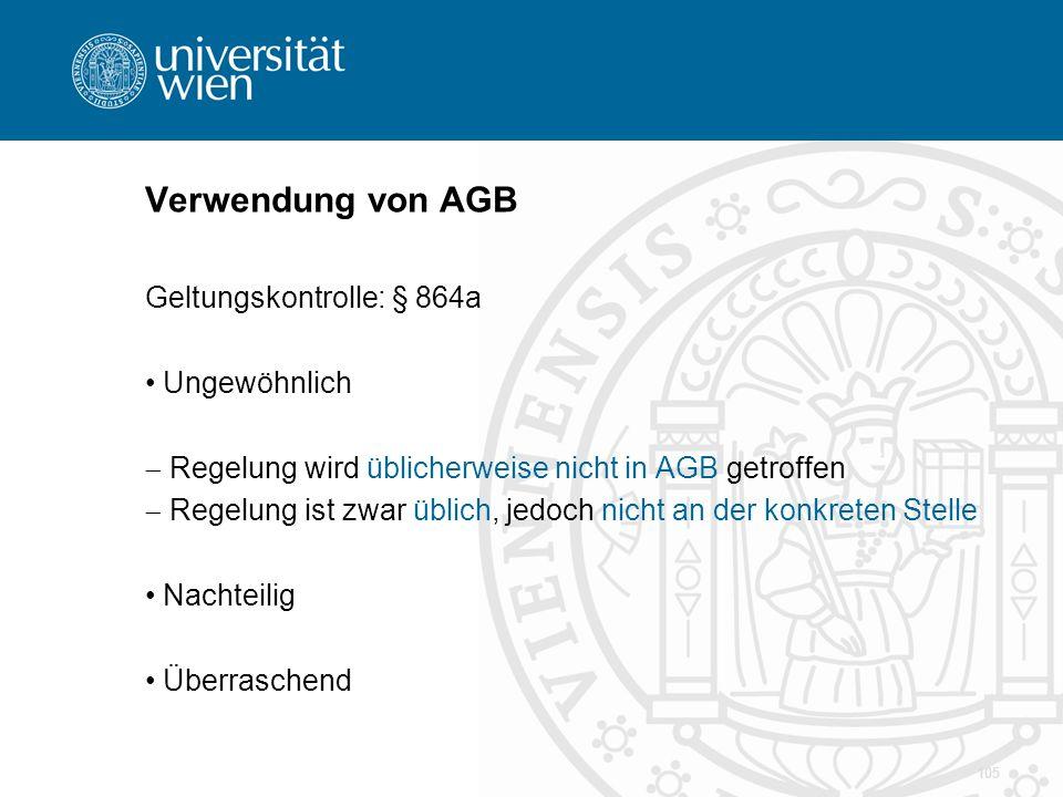 Verwendung von AGB Geltungskontrolle: § 864a Ungewöhnlich