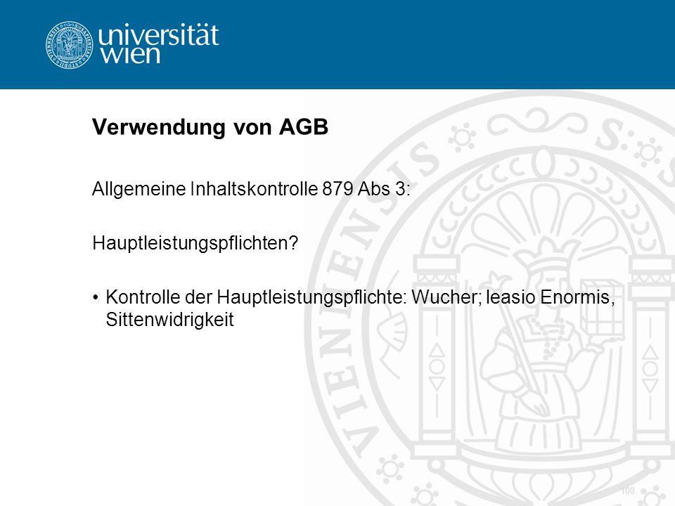Verwendung von AGB Allgemeine Inhaltskontrolle 879 Abs 3: