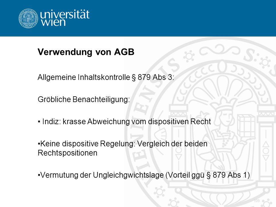 Verwendung von AGB Allgemeine Inhaltskontrolle § 879 Abs 3: