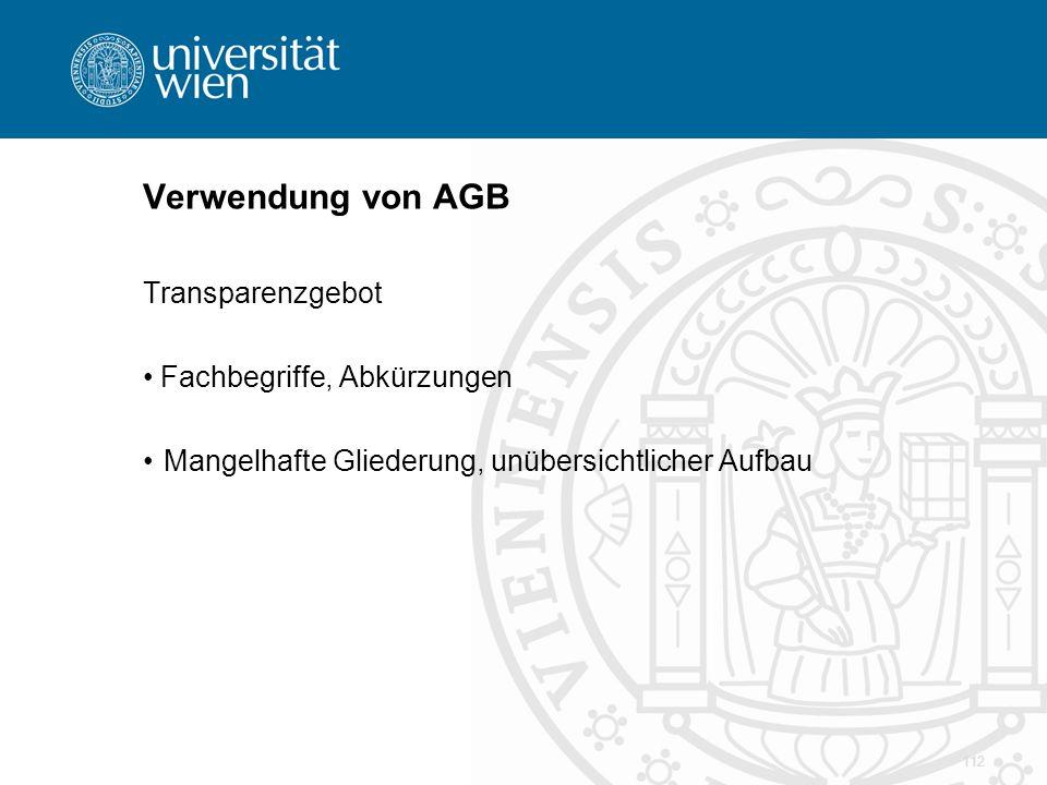 Verwendung von AGB Transparenzgebot Fachbegriffe, Abkürzungen