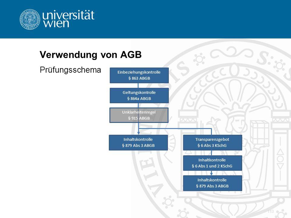 Verwendung von AGB Prüfungsschema Einbeziehungskontrolle § 863 ABGB