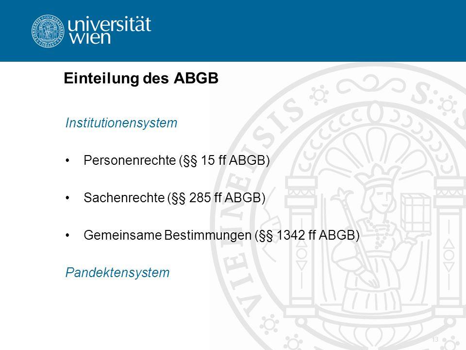Einteilung des ABGB Institutionensystem Personenrechte (§§ 15 ff ABGB)