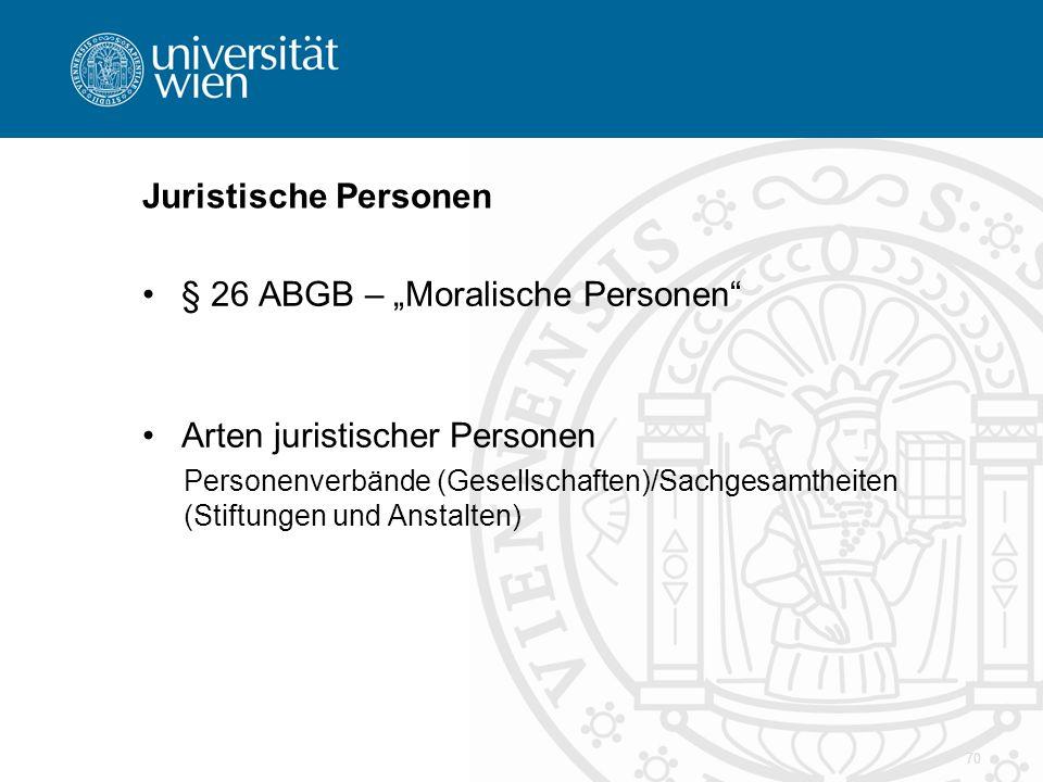"""§ 26 ABGB – """"Moralische Personen"""