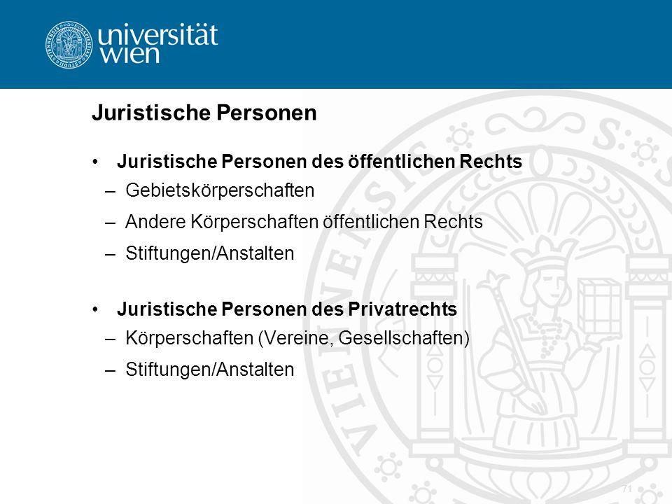 Juristische Personen Juristische Personen des öffentlichen Rechts