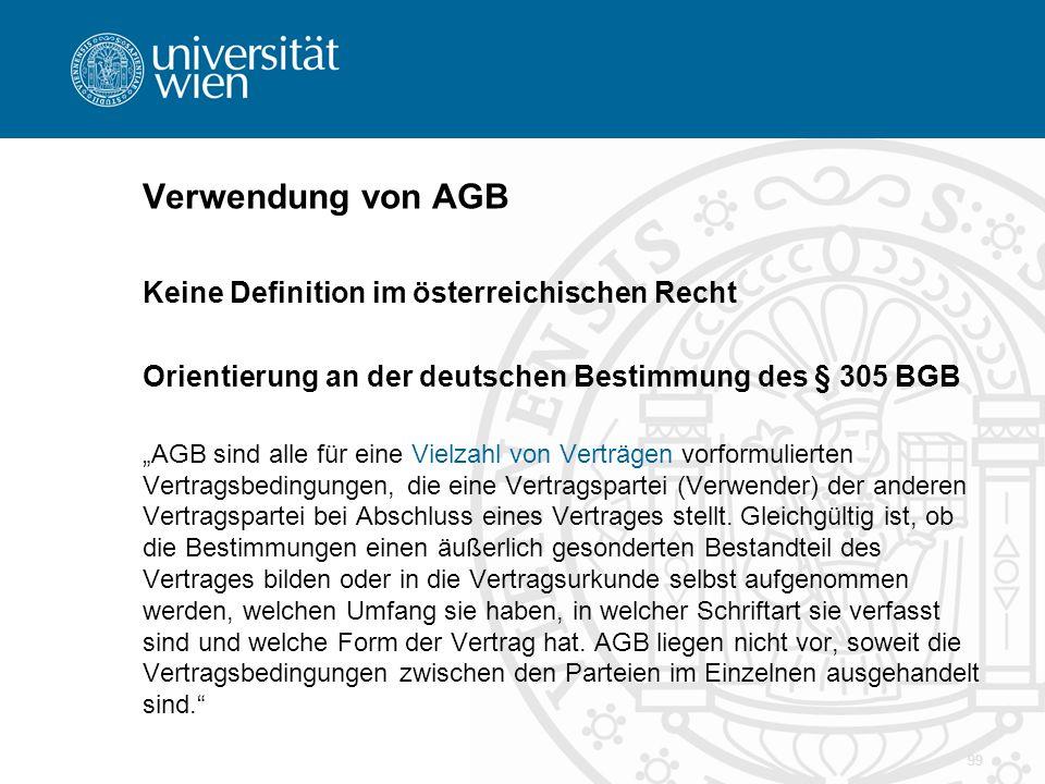 Verwendung von AGB Keine Definition im österreichischen Recht