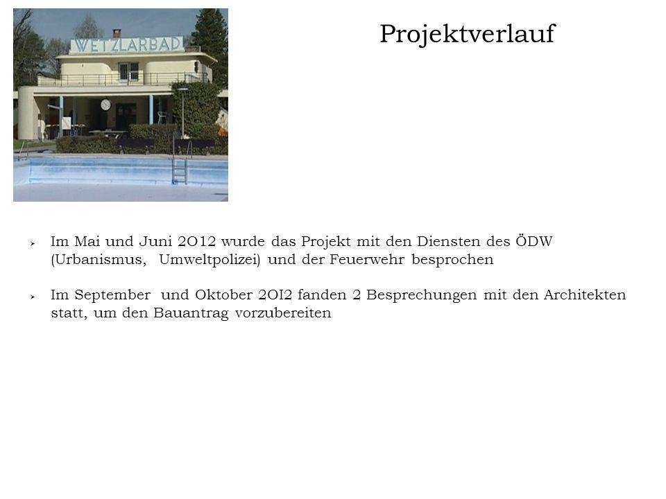 Projektverlauf Im Mai und Juni 2O12 wurde das Projekt mit den Diensten des ÖDW (Urbanismus, Umweltpolizei) und der Feuerwehr besprochen.