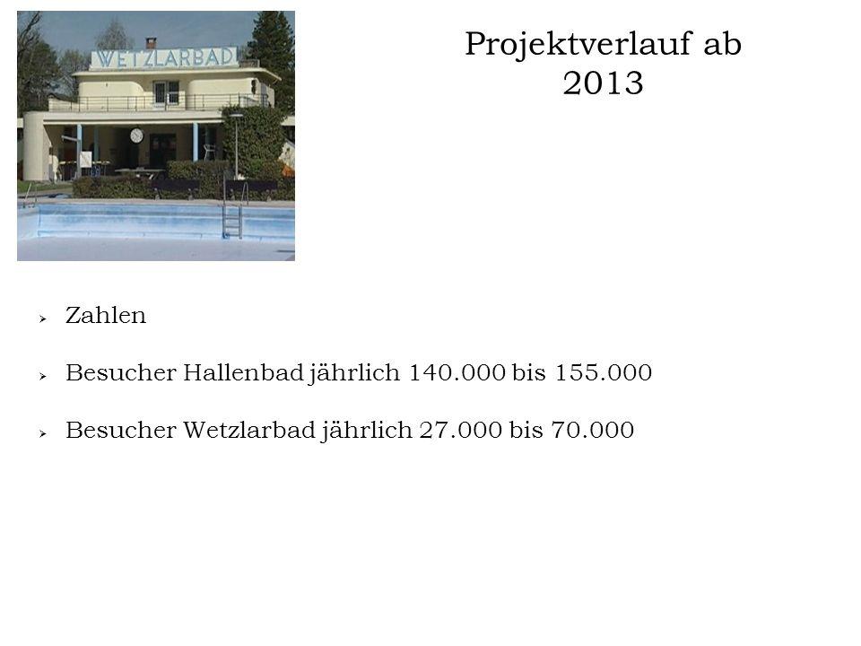 Projektverlauf ab 2013 Zahlen