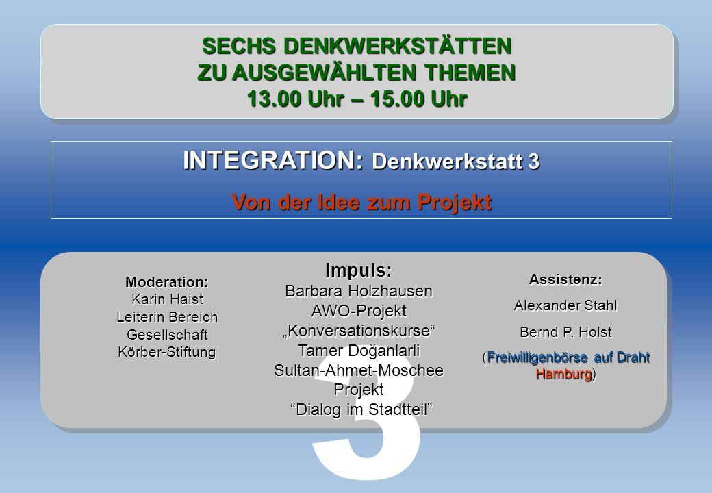 3 INTEGRATION: Denkwerkstatt 3 SECHS DENKWERKSTÄTTEN
