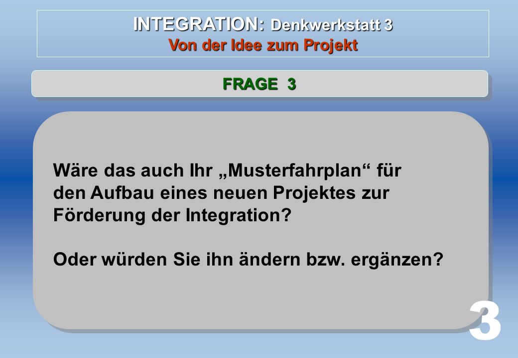 INTEGRATION: Denkwerkstatt 3 Von der Idee zum Projekt